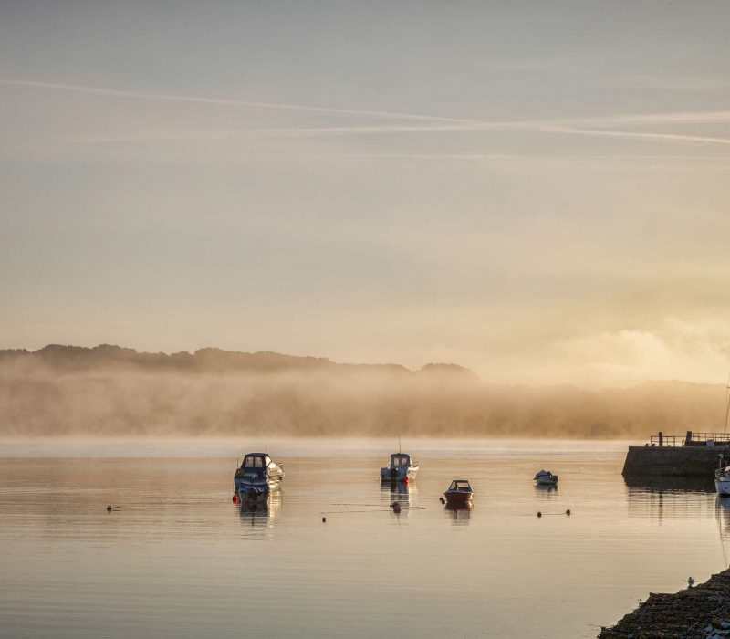 Boats Moored On A Misty Morning  In The Harbour Of The Fishing V