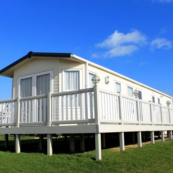 Exterior of static home on caravan site in Filey, England.